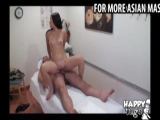 Asian masseuse gives a massage to a fat man then rides his cock