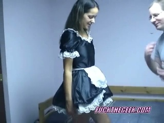 Slutty maid maria lifting her skirt and riding geek sweet cock