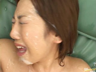 Tied Up Asian Covered With Cum
