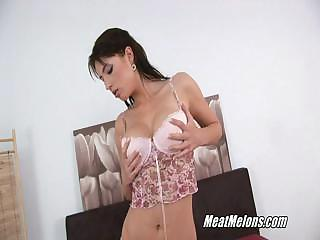 Horny Black Haired Stracy Sucks And Rides Cock
