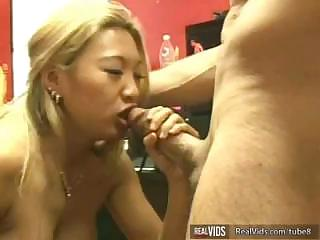 Nasty Asian slut makes perfect blow job to gets powerful sperm load in mouth.