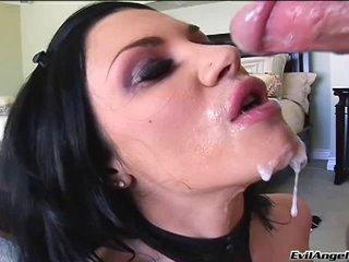 Andy San Dimas gets the perfect explosion of hot jizz allover her mouth