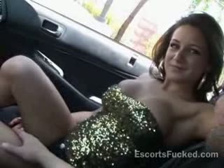 Sexy escort public car blowjob after picked up