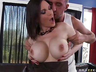 Keiran Lee admires big perfect boobs of black haired milf Diamond Foxxx before she deepthroats his cock and takes it from behind. Busty Keiran Lee spreads her buttocks and gets her wet hole stuffed.