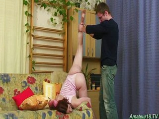 Acrobatic babe sucks cock upside down