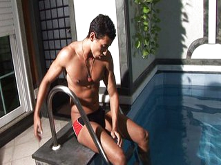 Jerking off by the pool