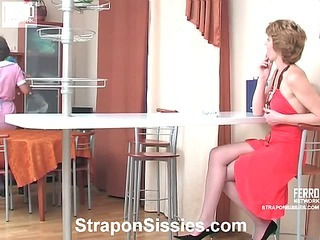 Margaret, Silvia&Frank strapon pussyclothed sex action