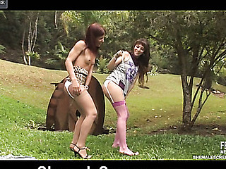 Red-haired ladyboy having freaky fun on the picnic gazoo-fucking desirous chick