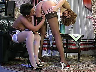 Shy honey nearly getting off from cunt-licking by lascivious aged chick
