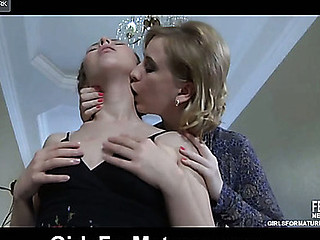Shy beauty gets sweet talked into lesbo making out by a lusty for fur pie mamma