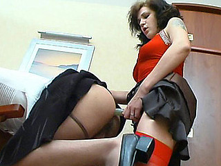Hottie with huge strap-on getting into wild mood whilst fucking with sissy