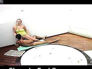 Stripped shemale and her boyfriend launching into doggystyle frenzy on floor