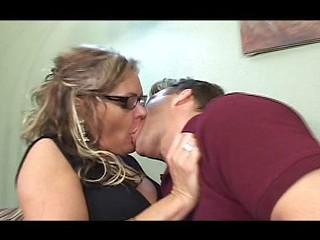 Chubby blonde cougar gets licked and sucks before he pounds her pussy