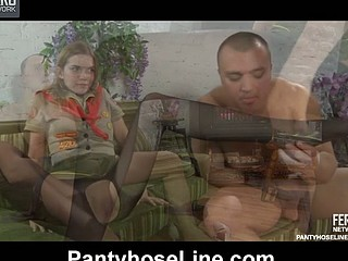 Cutie scout in black control top tights talked into pantyhosejob and boning