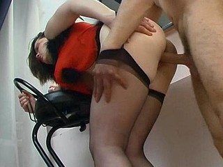 Salacious sweetheart in black hold-ups using guy
