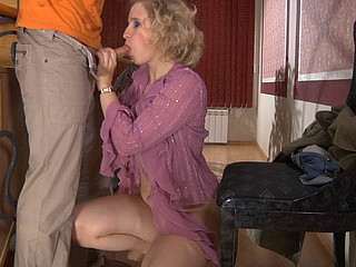 Lewd aged blond munching on fresh meat and getting dicked on the stairs
