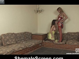 Red-stockinged dick-angel luring cutie into stunning scoring on the sofa