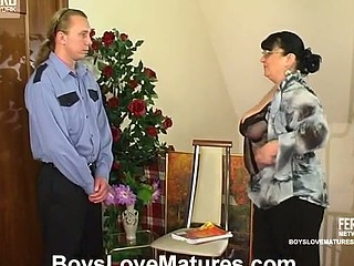 Chubby aged chick teasing a hung security to get his fresh palpitating dong