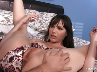 Dana is in bed and because she's a bitch she gets what she deserves, a hard fingering after she gets her shaved cunt licked. The babe spreads her long sexy legs and the guy starts licking her pink pussy making this bitch moan with pleasure. Her small cute tits, long dark hair and slutty face need some cum, will he give her a..