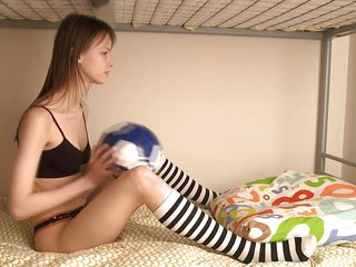 Well, Beata likes sports and she likes playing with a ball, sometimes with hard balls and sometimes with her cunt solo. Look at her as she takes off her panties and goes naughty with them, using them as a sex toy to rub her pussy. Is she relaxing after soccer training or she just likes balls and fucking, wanna see?