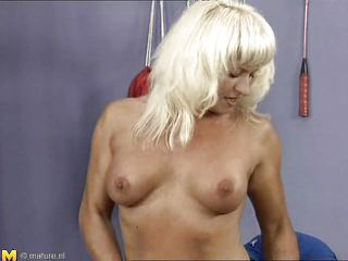 This tattooed mature bitch is at the gym and she maintains her shape doing a special training. How can be see her special training is to ride younger male big cock. She rides the dick very fast and hard while she plays with her small and sexy tits. The guy is happy and ready to cum.