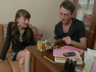 Look at this beautiful babe with big tits that is doing her homework with that guy. See how she makes him horny and how he slowly takes her panties and her bra off and starts fingering her tight vagina. Do you think she will get a big hard cock deep inside of her or a big load of sperm on her face?
