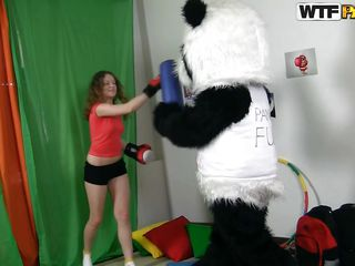 Curly hair, perfect ass, long sexy legs and a mouth that opens with delight at the sight of a hard dick, this is Anja! The russian chick has a flexible body and a girlish attitude that goes nice with her lust for cock. The Panda is happy to play with her and let her play with his dick afterwards!