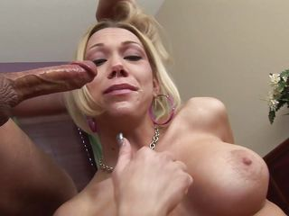 Ram rams his massive dong deep in the throat of sexy blonde babe Samantha Sin. She throws up some spit she is gagging on cock so hard. She gasps for each at each chance she gets. The is the biggest cock she's ever sucked.