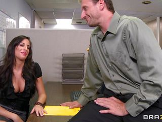 Look at that hot brunette telling her boss to come in the storage room so she can punish him for trying to fuck them. Two of her friends come along and they get horny on that guys cock. Are they going to get some spunk on their hot lips or some hard cock in their tight pussies?