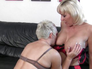 Two sexy mature blondes are horny and ready to have intense sex. One of them licks the other ones breasts and sucks her nipples before getting down on her shaved vagina while she rubs her pussy. Now one of the sluts takes a sexual toy, a dildo more exactly and the other one prepare herself for a deep penetration, spreading her..