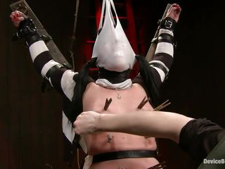 Whore milf Andy enjoys being her mistress`s little slave. She moans with pleasure, being tied up with a vibrator on her cunt and with her body covered with clothespins. The mistress is whipping her all over. Getting her mask off, she takes a look at her own hot body and reveals her dirty gagged mouth.