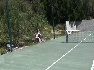 She is out on the tennis court on a bright, warm and sunny day. it makes her very hot and willing to shed her clothes to get rid of her heat. she gets into the shower to reveal a pair of breasts that can drive a man crazy and an ass that is a pleasure to look at. trainer is going to enjoy her body.