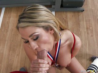 Look at this blonde babe how good is she to make a blowjob. She and his partner are in the gym and she is staying on her knees and is sucking his big cock. Certainly after that the male will penetrate the bitch very deep in her wet vagina and will fuck her very hard.