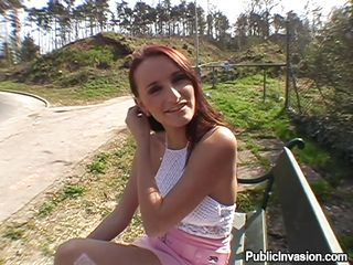 Crazy redhead Claudia finds herself in the wild with a horny men and thing will definitely go wild today. She speaks to him and laughs a little, then goes for more serious stuff. The bitch sits on her knees and begins to give him a passionate blowjob like an expert whore. Wanna see sum cum on her pretty face?