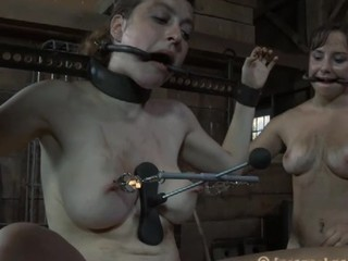 Inflicting pang on beauty's jugs with salacious toy satisfying