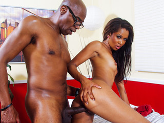 horny ebon playgirl gets to engulf and fuck his huge black knob