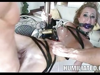 Awesome looking blonde pornstar gets tied and fucked hard