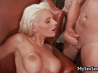 Busty Sarah Twain in steamy orgy