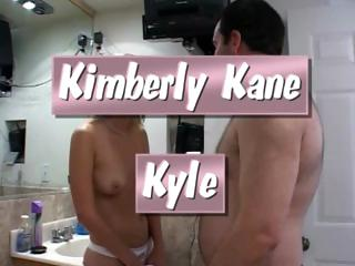 Blonde cutie, Kimberly Kane, stuffs Kyle's fat cock in her mouth and pussy