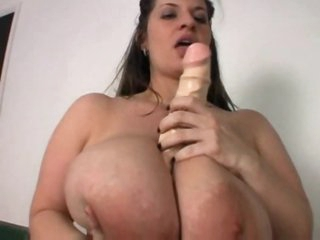 Huge tits fat girl plays with her dildo